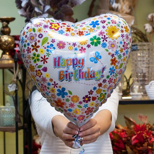 """Фольгированный шарик-сердце """"Happy birthday"""""""