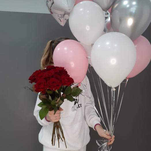 Набор из 15 роз и шаров