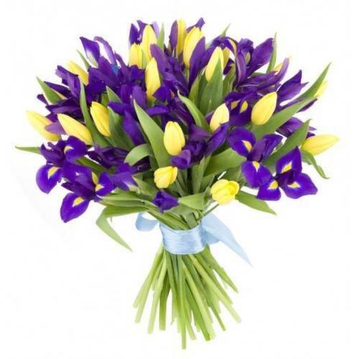 Ирис с тюльпаном