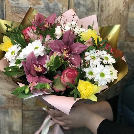 Букет Орхидеи Цимбидиум, Кустовых Хризантем и Роз