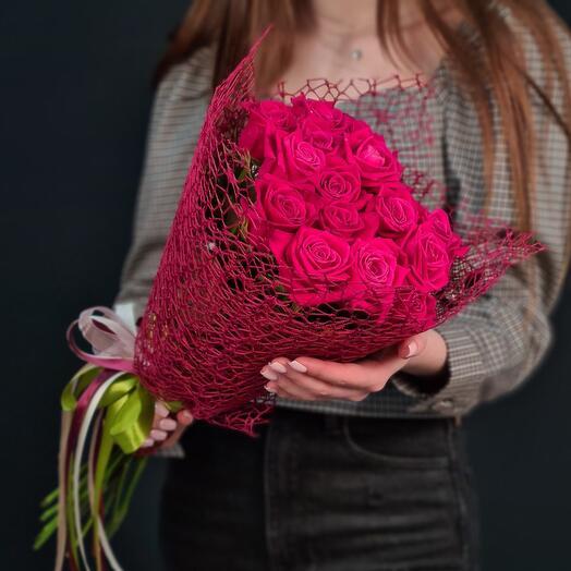 Монобукет из 15 красных роз 💫