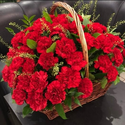 Funeral basket of 40 red carnations