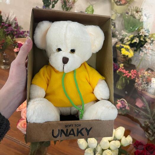 Мягкая игрушка «Белый медведь в желтом»