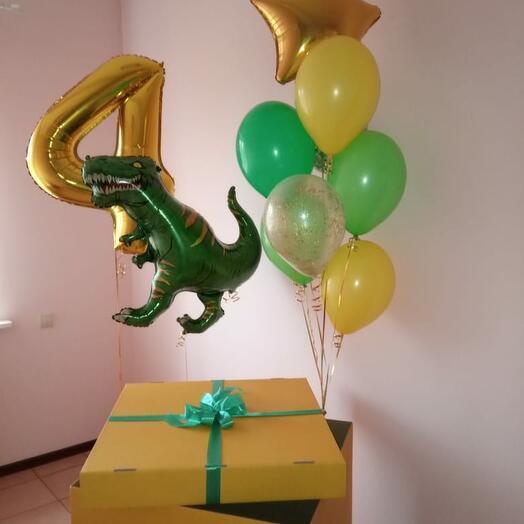 Сет с Тираннозавром, цифрой и коробкой сюрприз