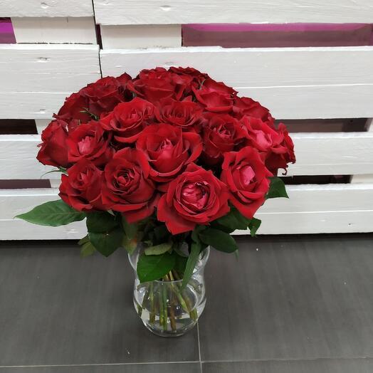 25 бархатных бордовых роз