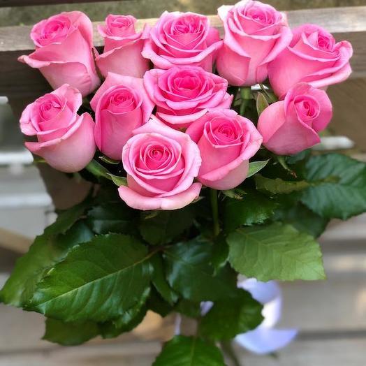 Букет из 11 розовых роз 80 см: букеты цветов на заказ Flowwow