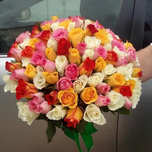 Букет из 101 разноцветной кенийская роза: букеты цветов на заказ Flowwow