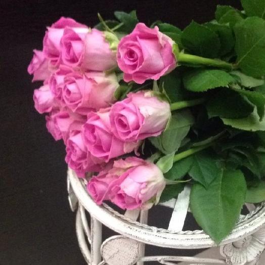Букет из 15 розовых голландских роз 50 см: букеты цветов на заказ Flowwow
