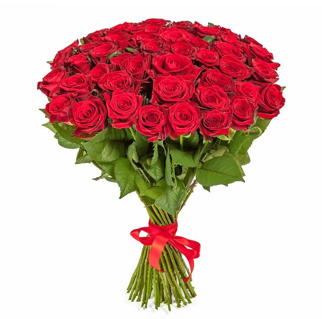 Букет из 71 красной местной розы 60 см: букеты цветов на заказ Flowwow
