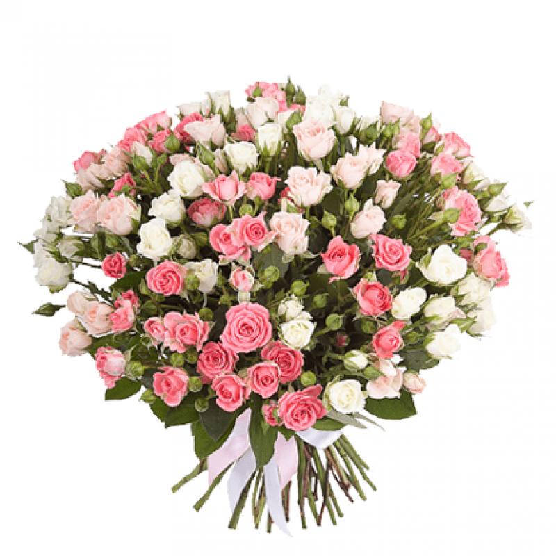 Букет из 21 разноцветной кустовой розы 60 см: букеты цветов на заказ Flowwow