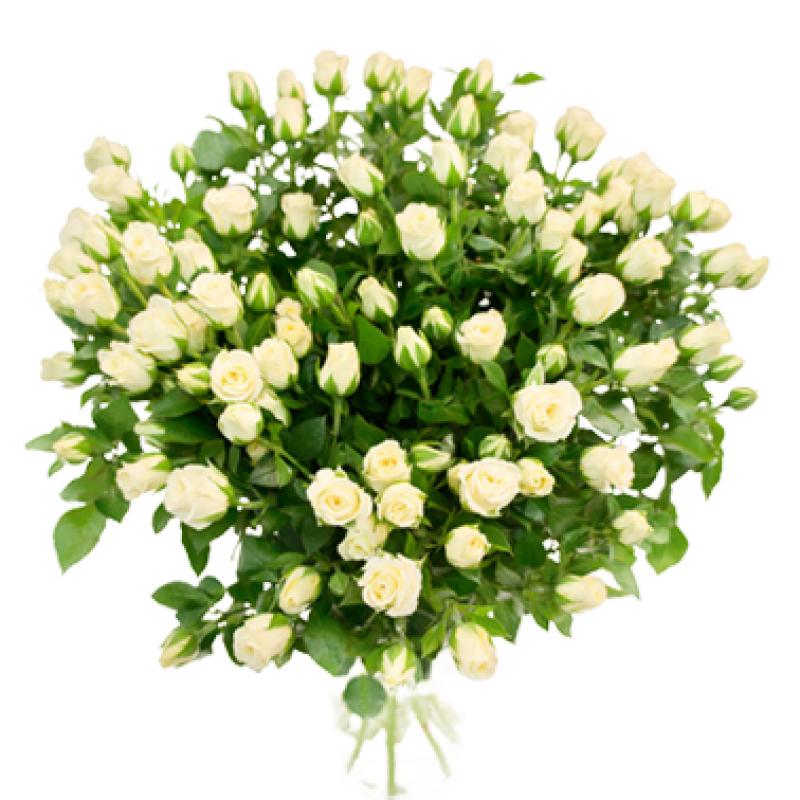 Букет из 21 белой кустовой розы 50 см: букеты цветов на заказ Flowwow