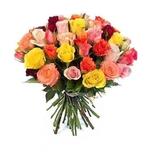 Букет из 25 разноцветных роз 60 см: букеты цветов на заказ Flowwow