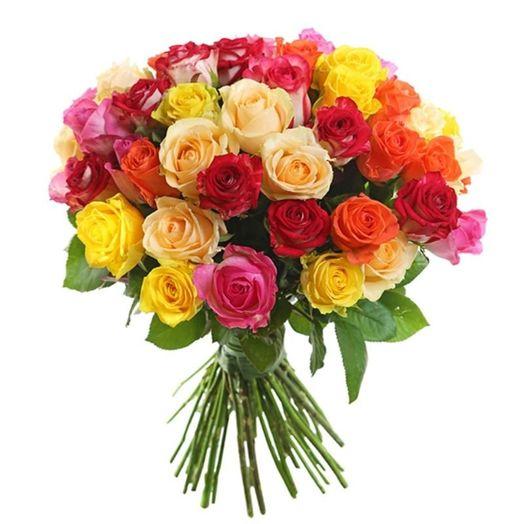 Букет из 61 разноцветной местной розы 50 см: букеты цветов на заказ Flowwow