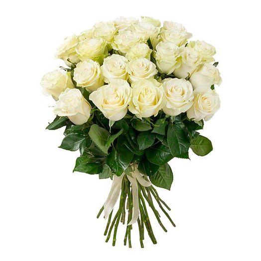 Букет из 21 белой местной розы 60 см: букеты цветов на заказ Flowwow
