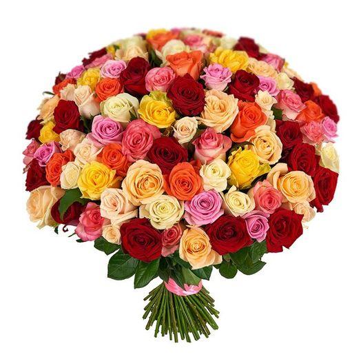 Букет из 101 разноцветной голландской розы 60 см: букеты цветов на заказ Flowwow