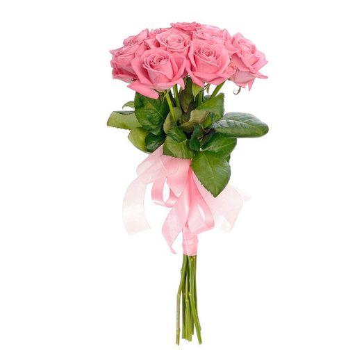 Букет из 9 розовых голландских роз 60 см: букеты цветов на заказ Flowwow