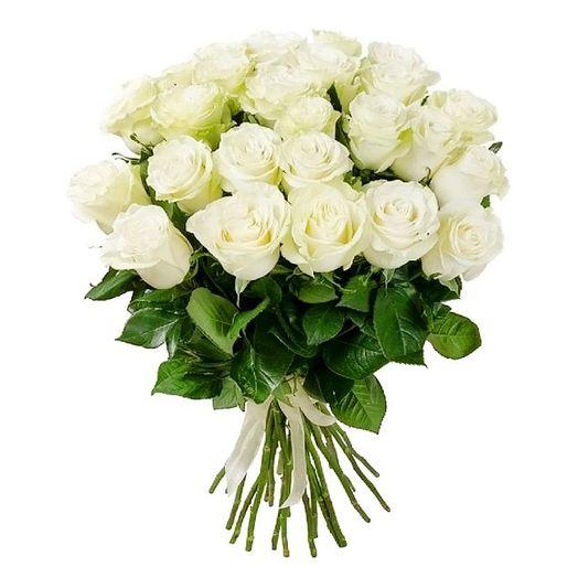Букет из 30 белых голландских роз 50 см: букеты цветов на заказ Flowwow
