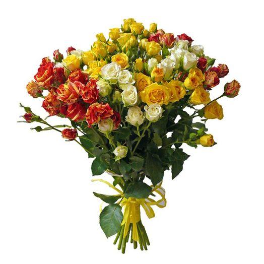 Букет из 3 разноцветных кустовых роз 50 см: букеты цветов на заказ Flowwow