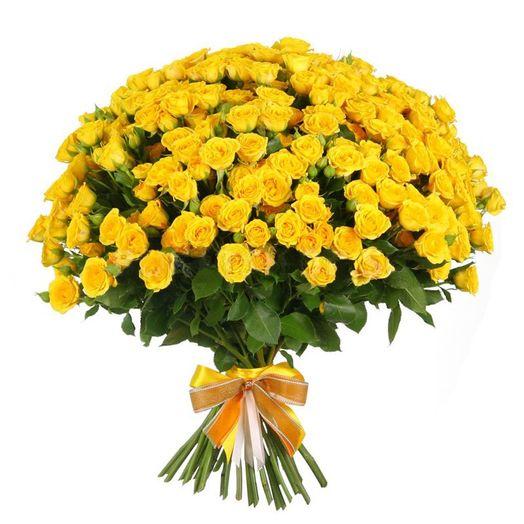 Букет из 101 желтой кустовой розы 50 см: букеты цветов на заказ Flowwow