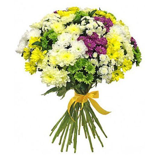 Букет из 21 разноцветной хризантемы кустовой: букеты цветов на заказ Flowwow