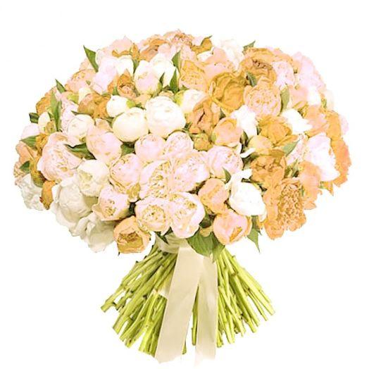 Букет из 101 желтого пиона: букеты цветов на заказ Flowwow