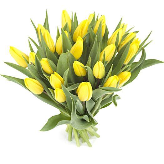 Букет из 21 желтого тюльпана: букеты цветов на заказ Flowwow