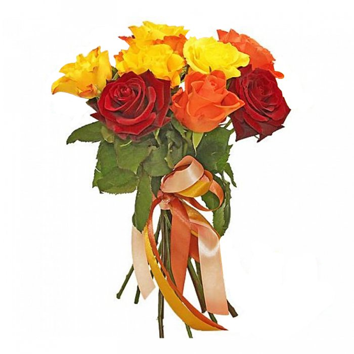 Букет из 11 разноцветных роз 50 см: букеты цветов на заказ Flowwow