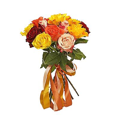 Букет из 7 разноцветных роз 50 см: букеты цветов на заказ Flowwow