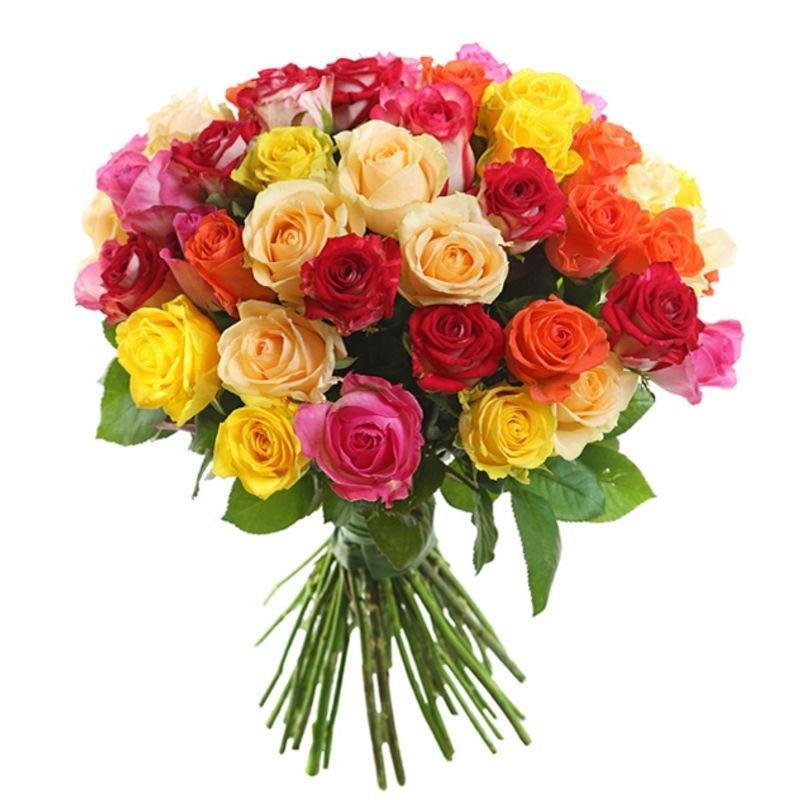 Букет из 50 разноцветных роз 60 см: букеты цветов на заказ Flowwow