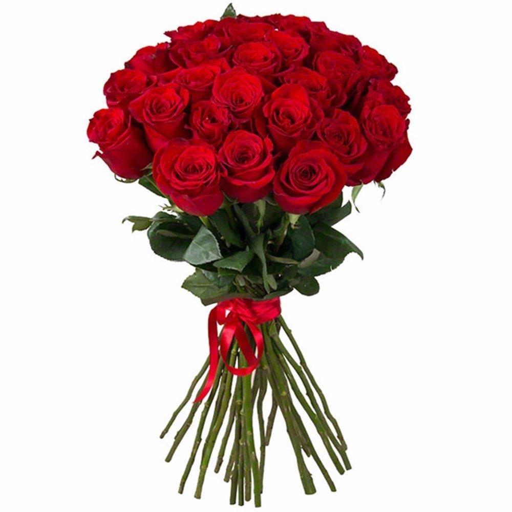 Букет из 21 красной местной розы 50 см: букеты цветов на заказ Flowwow