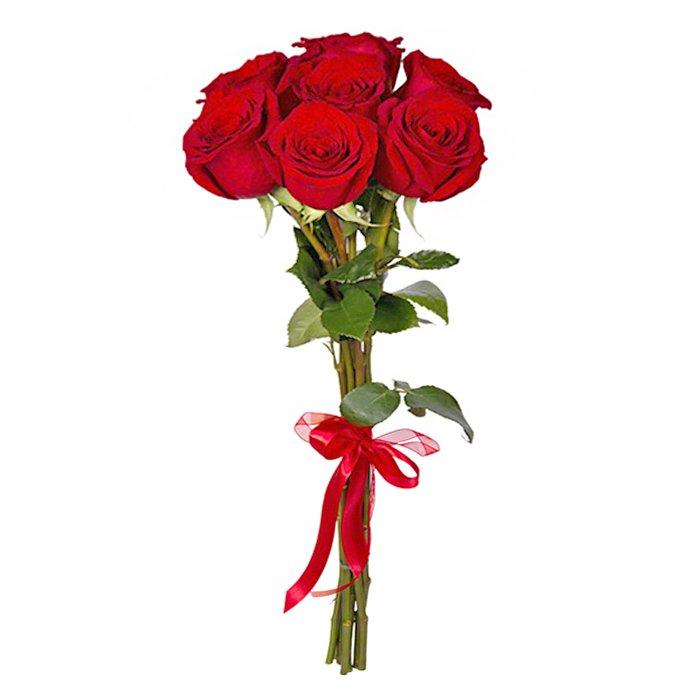 Букет из 7 красных роз 60 см: букеты цветов на заказ Flowwow