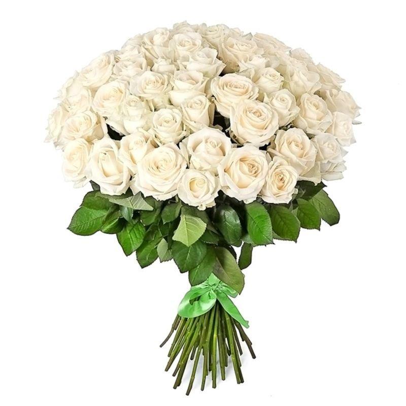 Букет из 61 белой местной розы 50 см: букеты цветов на заказ Flowwow