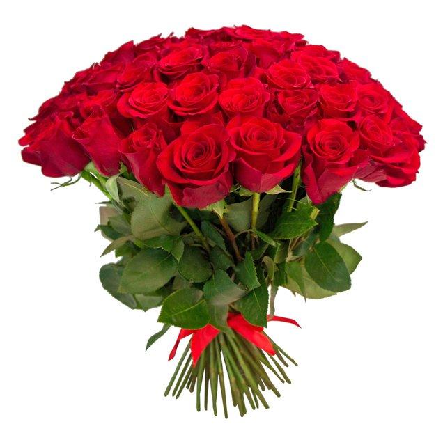Букет из 35 красных голландских роз 60 см: букеты цветов на заказ Flowwow