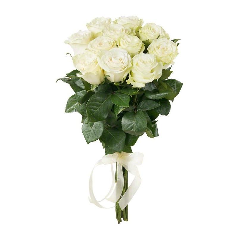 Букет из 11 белых голландских роз 60 см: букеты цветов на заказ Flowwow