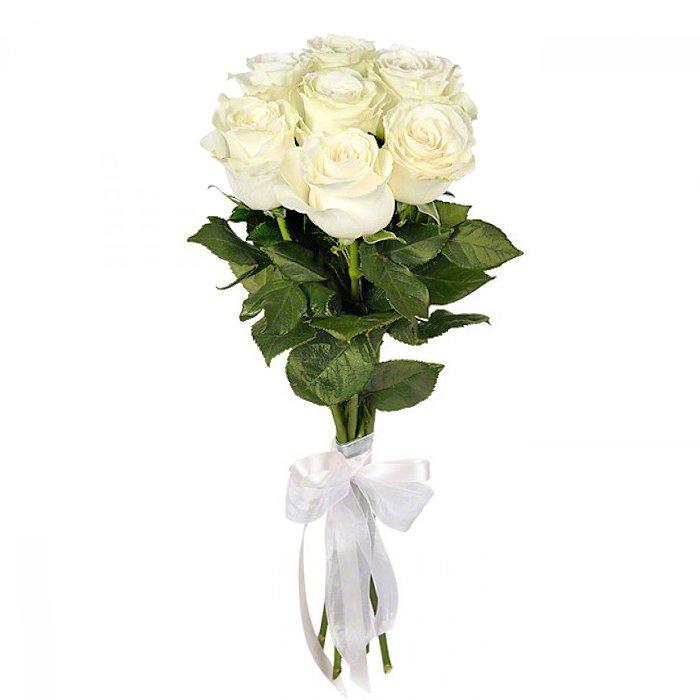 Букет из 7 белых голландских роз 50 см: букеты цветов на заказ Flowwow