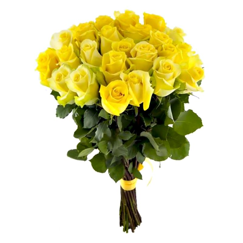 Букет из 25 желтых голландских роз 60 см: букеты цветов на заказ Flowwow