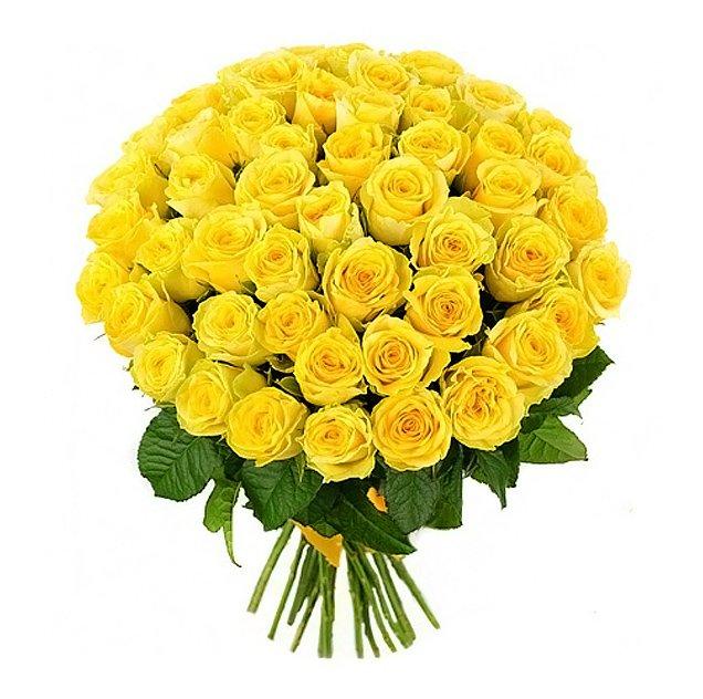 Букет из 55 желтых голландских роз 60 см: букеты цветов на заказ Flowwow