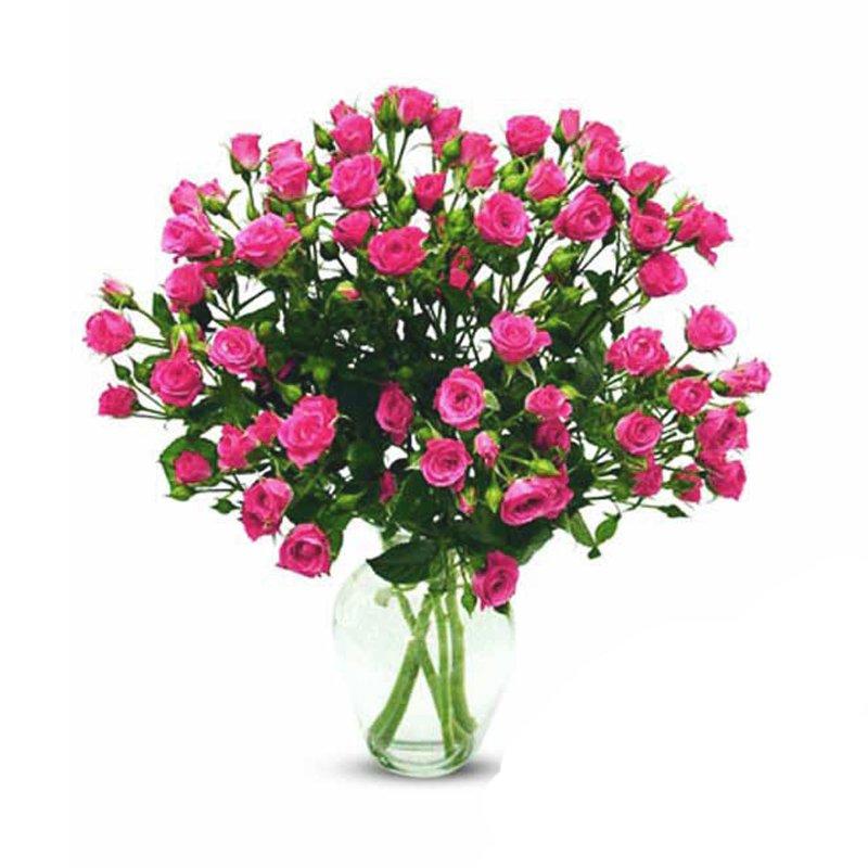 Букет из 15 розовых кустовых роз 60 см: букеты цветов на заказ Flowwow