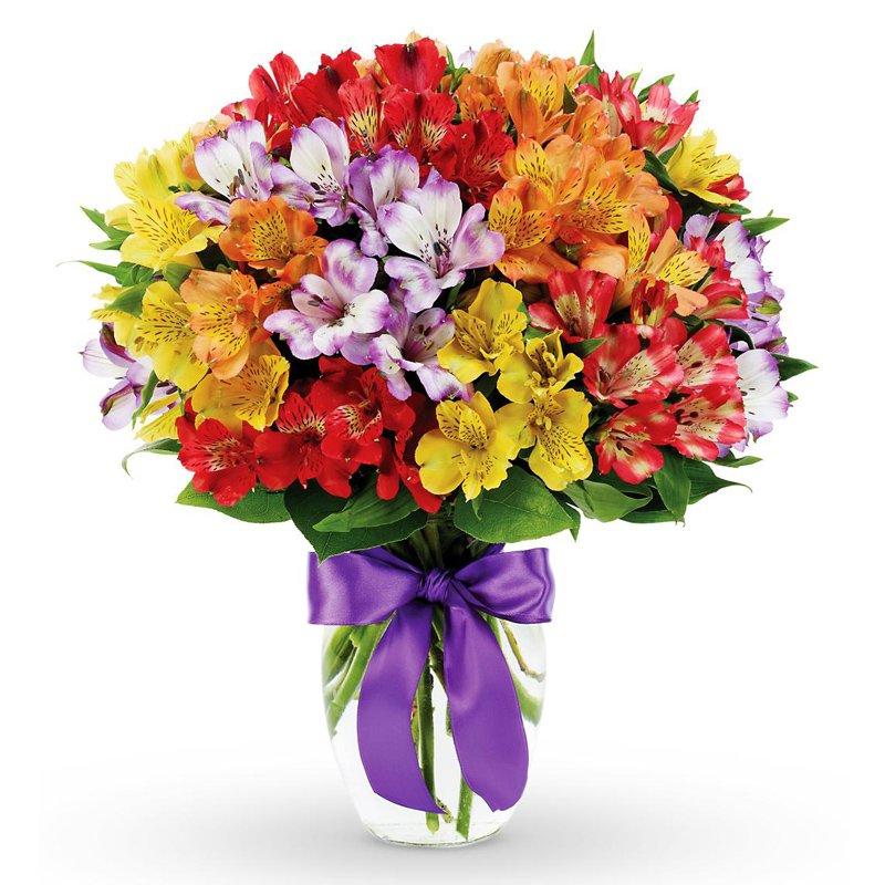Букет из 45 разноцветных альстромерий: букеты цветов на заказ Flowwow