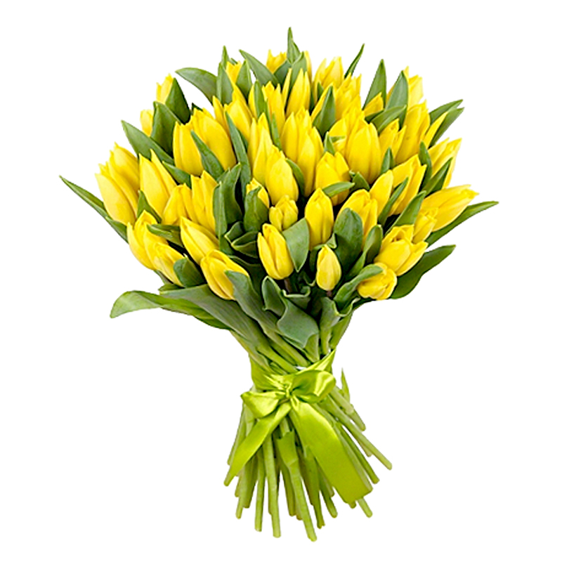 Букет из 35 желтых тюльпанов: букеты цветов на заказ Flowwow